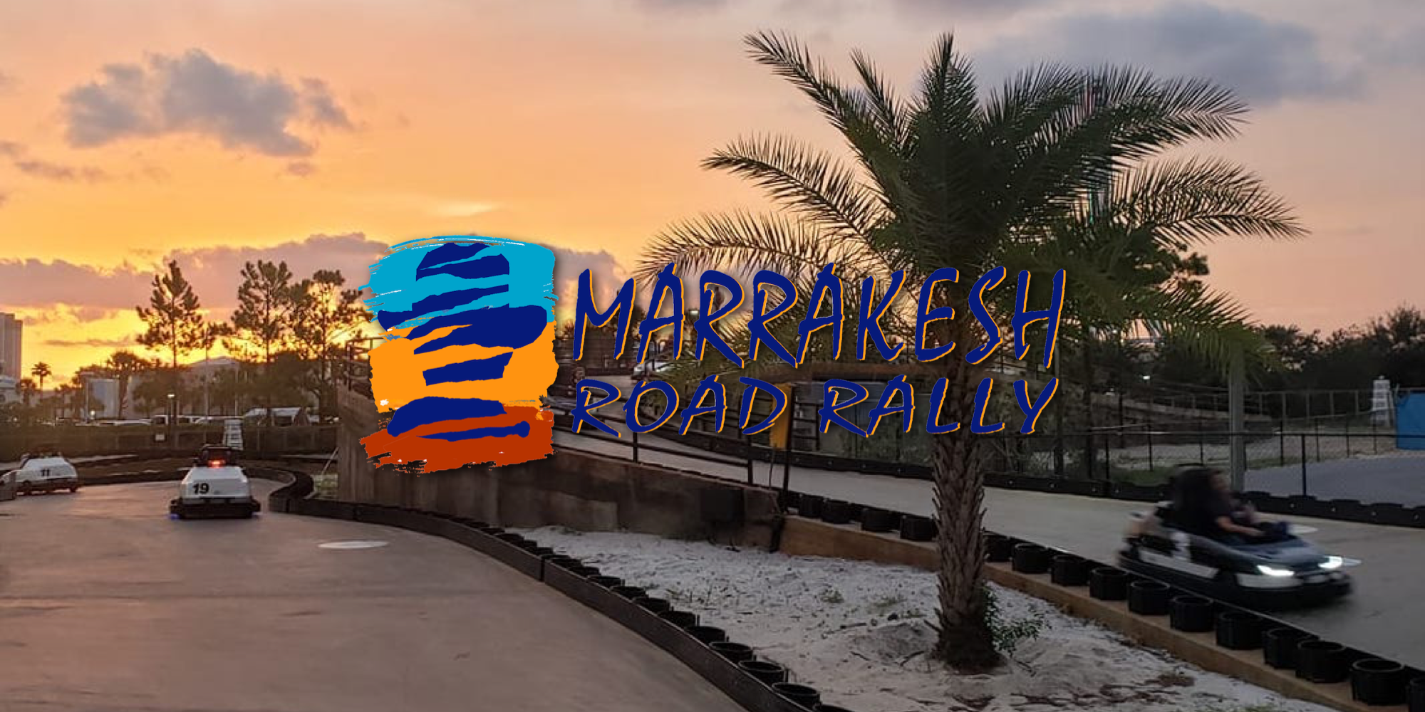 Logo for the Marrakesh Road Rally electric go-karts attraction at Swampy Jack's Wongo Adventure in Panama City Beach, Florida