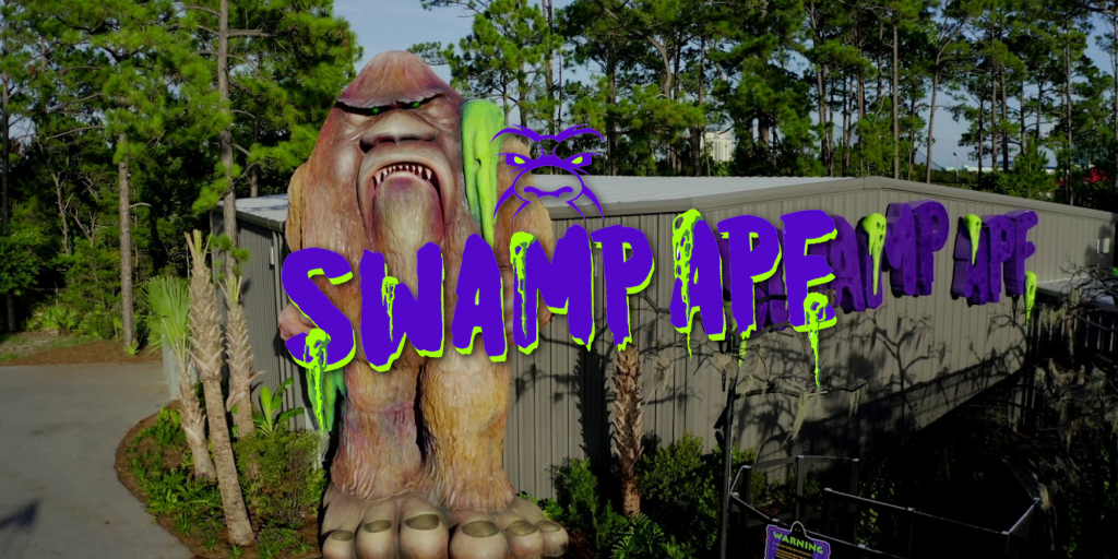 Logo for the Swamp Ape indoor scrambler attraction at Swampy Jack